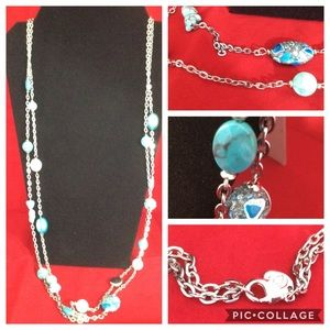 Jewelry - Silver with turquoise accented necklace